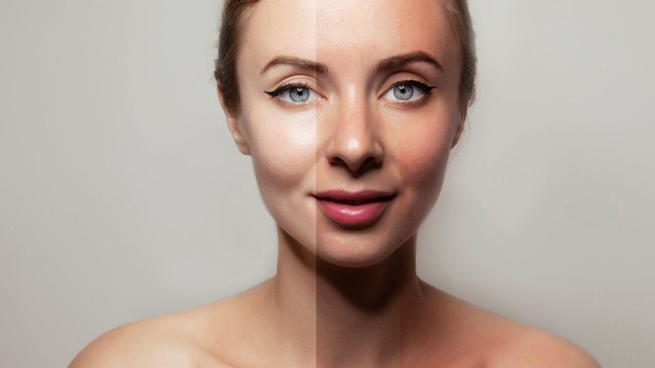zbliżenie na kobiecą twarz podzieloną na pół